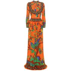 Gucci Printed Silk Dress ($4,035) ❤ liked on Polyvore featuring dresses, gowns, gucci, cocktail/gowns, multicoloured, multi-color dresses, gucci dress, multi color evening dresses, orange cocktail dress and multicolored dress