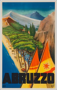 Vintage Resort Travel Poster: Abruzzo, Italy 1948