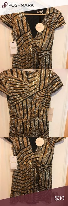 Sequined romper Black with gold sequins. Luxxel by posh shop. Other