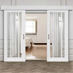 Bespoke Thruslide Surface Worcester White Primed 3 Pane - Sliding Double Door and Track Kit - Clear Safety Glass - Lifestyle Image #slidingdoors #internal #glazed