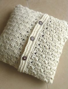 Throw pillow cover white crocheted pillow Home by FilinFilando