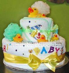 Bathtime Diaper Cake  duckie, sponge, wash clothes, towels, baby wash, baby shampoo, bath toys