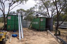 steel frame and purlins on shipping container shed