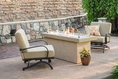 "A showcase of fire, the Key Largo gas fire pit features a beautiful, glowing fire that dances atop a bed of fire glass. The focal point of the design is a striking 12"" X 42"" stainless steel Crystal Fire burner. This simple, modern design will look great in any outdoor living space. Award-winning."