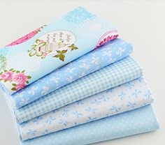 Blue Cotton Fabric Telas Bundle DIY Patchwork Sewing Baby Toy Doll Material Quilting Bedding Tecido, 4050CM, 5pcs -- See this great product.