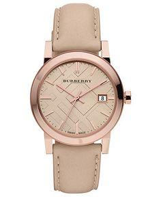 Burberry Watch, Women's Swiss Nude Leather Strap 34mm BU9109 - Women's Watches - Jewelry & Watches - Macy's