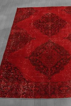 Over-Dyed Turkish Vintage Distressed Wool Rug