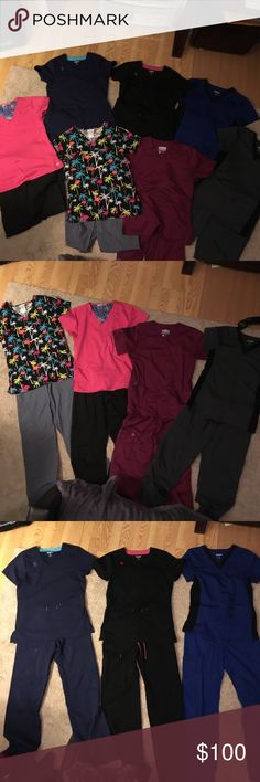 Lot of 7!! Super Cute Brand Name Scrubs!! Size XS This is a GREAT DEAL!! 💜💙💚🖤 This Lot of 7, brand name scrubs, are VERY LIGHTLY WORN with NO wear and tear! They are in PERFECT condition! Brands are SCRUBSTAR and WONDER WORK! All equipped with tons of pockets, hoops for your lanyard and special pockets for pens. The tops of the Gray & Royal Blue sets are detailed with Black side stripes made of a stretchy material that keeps them nice and fitted. The Black and Navy Blue pair have…