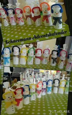 Schneemann Adventskalender (Aus Toilettenpapierrollen)