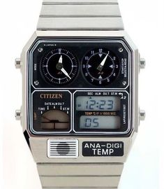 Citizen JG2000-59E — Temperature & Dual Time watch. I love this type of futuristic 1980s wannahave gadget.