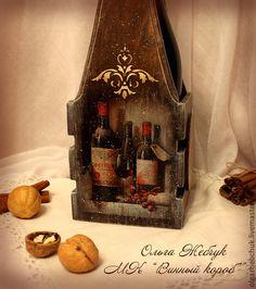 "Купить Короб для вина "" Вкус времени"" - коричневый, вино, ящик для вина, подставка для вина"