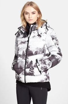 Moncler 'Abbadia' Forest Print Hooded Down Puffer Coat available at #Nordstrom