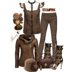 "This is a cute steampunk outfit that I would wear. ""Streampunk/Victorian Casual by Sheniq"" by sheniq on Polyvore"