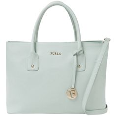 Furla Josi Medium Tote (250 CAD) ❤ liked on Polyvore featuring bags, handbags, tote bags, green, leather purse, green leather tote bag, furla tote, genuine leather handbags and genuine leather tote bag