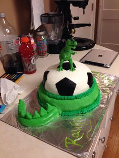 Dinosaur meets soccer! Soccer Birthday Parties, Sports Birthday, Soccer Party, Sports Party, 4th Birthday, Birthday Cakes, Birthday Ideas, Dinosaur Cake, Dinosaur Party