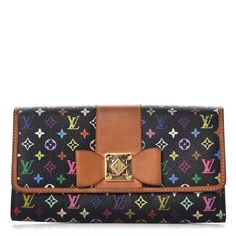 2323d8d9df00 LOUIS VUITTON Multicolor Sarah Noeud Wallet Black 308139 Louis Vuitton  Multicolor