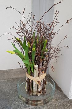 Tulpen Deko mit gelben Tulpen Strong Gold Tulips are brilliantly stable tulips. DIY instructions so you can make a tulip decoration slebr. Tying the bouquet of tulips is fun. You need birkenreisg and 10 tulips. Fleurs Diy, Tulip Bouquet, Yellow Tulips, Deco Floral, Diy Décoration, Ikebana, Spring Flowers, Flowers Garden, Floral Arrangements