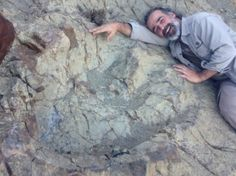 Paleontologist Sebastian Apesteguia lies next to a newly discovered dinosaur footprint in Bolivia. (Credit: Grover Marquina)