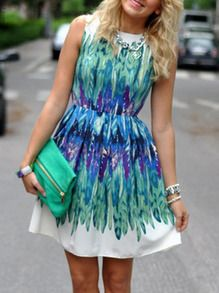 White Green Sleeveless Feather Print Dress Cant wait to get this dress next week !