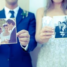 Love this idea! Take a photo holding a pic of your parents on their wedding day! nice tribute!