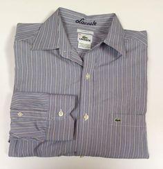 Lacoste Button Front Dress Shirt Long Sleeve Mens 40 M Modern Fit Blue Striped