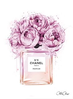 Chanel perfume illustration with peonies. Print out and plac .- Chanel perfume illustration with peonies. Print out and place in frame for decor… Chanel perfume illustration with peonies. Visit our shop if it does not have to be Chanel ….