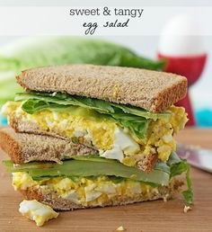 This sandwich is SO flippin' good! Sweet 'n Tangy Egg Salad Sandwich Recipe is low carb and low fat Get the recipe on itsyummi.com