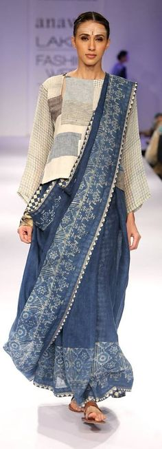 Indigo print sari with long-sleeved patchwork shirt: Anavila Misra