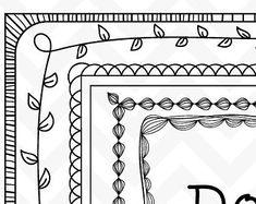40 images dessinées à la main doodle frontières par qidsignproject