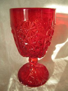 Vintage L G Wright Daisy & Button Ruby Red Water Goblet