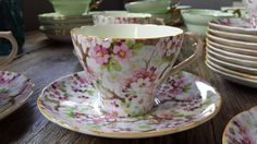 taza de té de porcelana inglesa shelley maytime flores