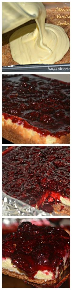 Blackberry cheesecake bars on a vanilla pecan crust Blackberry Cheesecake Bars ~ Blackberries (any berry would be great) over a fabulous cheesecake that covers a vanilla pecan cookie crust… The ultimate dessert. Blackberry Cheesecake, Blackberry Recipes, Cheesecake Bars, Cheesecake Recipes, Dessert Recipes, Blackberry Dessert, Just Desserts, Delicious Desserts, Yummy Food