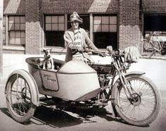 Della Crewe rode from Waco, Tx to New York in her 1914 Harley along with her dog in the sidecar.