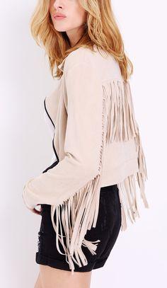 Long sleeve tassel jacket from SheIn - great look!