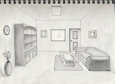Bedroom Drawing One Point Perspective one point perspective interior - google search | art teacher stuff