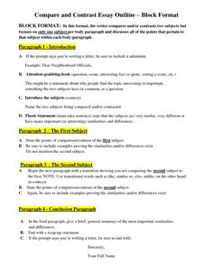 Comparing And Contrasting Essays Outline For Compare Contrast Essay