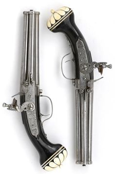 Pair of four-barrelled flintlock turn-over pocket pistols   by Cornelis Coster  Utrecht  circa 1660