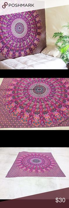 """💥Boho hippy gypsy wall decor tapestry mandala🎉 Brand new.Handmade with natural dyes.  Uses: bed spread, couch spread, curtains, wallhangings, Celling decor, beach mat, picnic mat, table cloth, yoga & meditation.  Size: 90"""" X 84"""" inch ( Queen bed)   Material;100% Cotton  Wash: cold wash Jackets & Coats Blazers"""