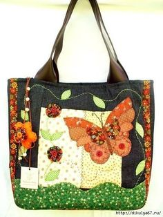ideas bolsos apliques (6) Quilted Tote Bags, Patchwork Bags, Bag Quilt, Denim Handbags, Art Bag, Handmade Purses, Craft Bags, Denim Bag, Fabric Bags