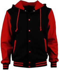 ade1a7fa00f04a Angel Cola Men s Cotton Hoodie Varsity Jackets Black   Red 2XS