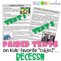 "Paired texts on kids favorite ""subject""- Recess!! Find out how we use paired texts in the classroom."