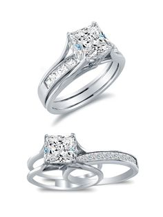 Coolest looking rings I've ever seen! Sonia Jewels Solid White Gold Bridal Set Princess Cut Solitaire Engagement Ring with Matching Channel Set Wedding Band Highest Quality CZ Cubic Zirconia Pretty Rings, Beautiful Rings, The Bling Ring, Halo Engagement Rings, Looks Vintage, Diamond Studs, Wedding Bands, Wedding Ring, White Gold