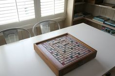 A Scrabble board is changed seasonally or when guests come over.