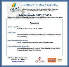 Jornada Reforma Laboral, 5 de marzo de 2012 en el Vivero de la Cámara de Comercio de Alicante en Denia