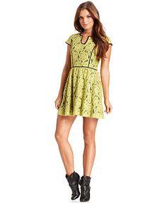 Kensie Dress, Short-Sleeve Split-Neck Floral-Print A-Line