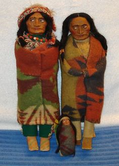 "3 Vintage Cloth Composition 14""13"" Skookum Indian Dolls and Baby 