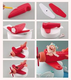 Sugar art De Carlos Lischetti - pig in plane 2 Bolo Fondant, Fondant Cake Toppers, Fondant Cakes, Cupcake Cakes, Cupcakes, Cake Topper Tutorial, Fondant Tutorial, Planes Cake, Fondant Decorations