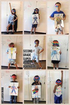 Second Grade Super Hero Portraits