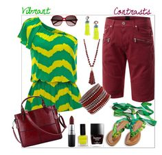 """""""Vibrant Contrasts"""" by clairecoloursme on Polyvore featuring BaubleBar, Yves Saint Laurent, Lydell NYC and MAC Cosmetics"""