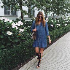 fringe sandals, gucci dionysus bag & denim dress | lauracoeur.com